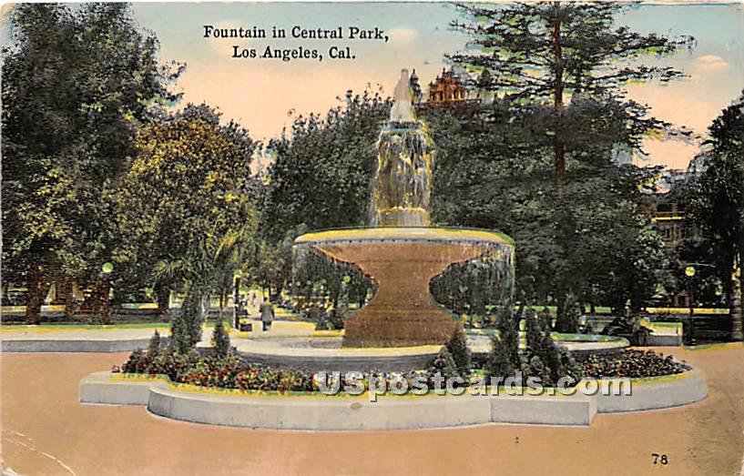 Fountain, Central Park - Los Angeles, California CA Postcard
