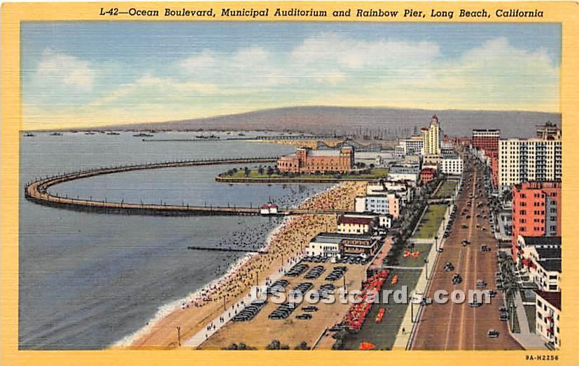 Ocean Boulevard - Long Beach, California CA Postcard