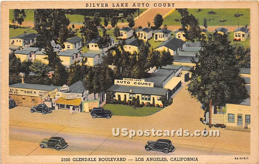 Silver Lake Auto Court - Los Angeles, California CA Postcard