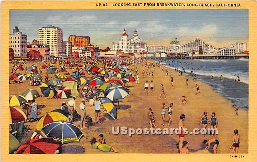Breakwater - Long Beach, California CA Postcard