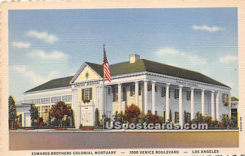 Edwards Brothers Colonial Mortuary - Los Angeles, California CA Postcard
