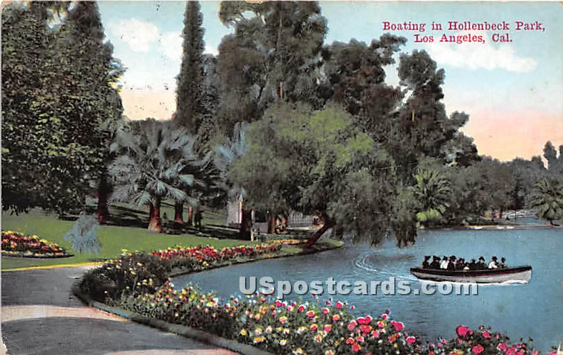 Boating, Hollenbeck Park - Los Angeles, California CA Postcard