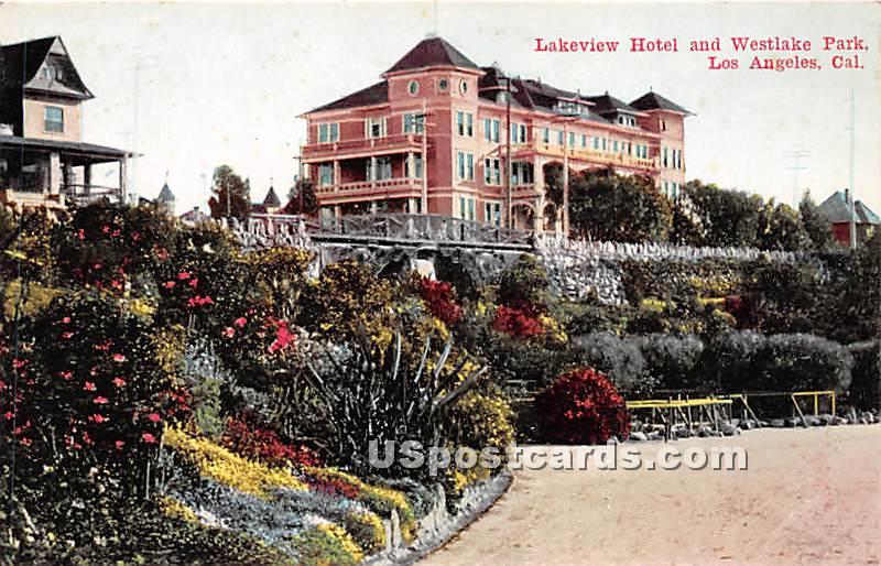 Lakeview Hotel & Westlake Park - Los Angeles, California CA Postcard