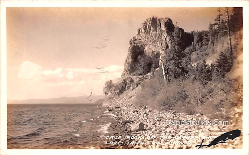 Cave Rocks on the Nevada Shore - Lake Tahoe, California CA Postcard