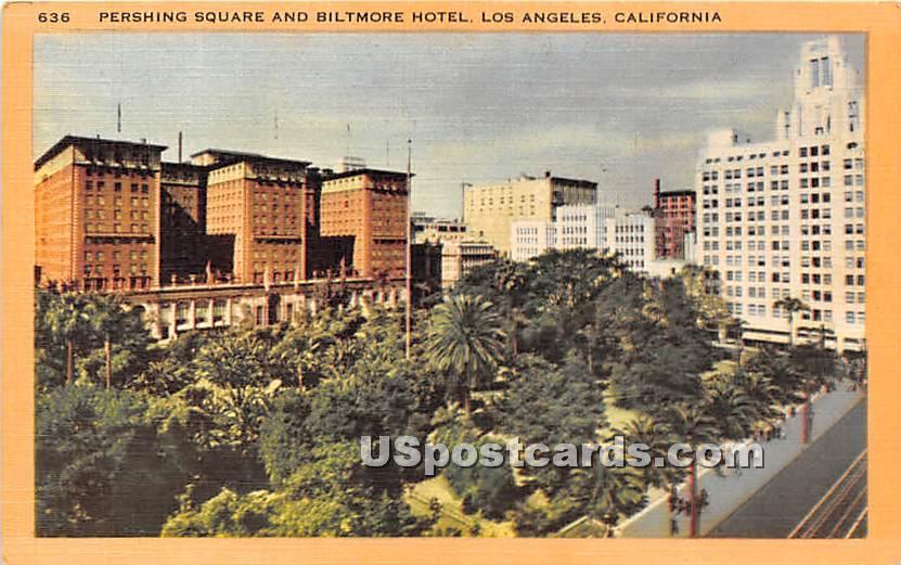 Pershing Square & Biltmore Hotel - Los Angeles, California CA Postcard