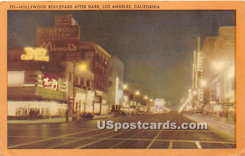 Hollywood Boulevard - Los Angeles, California CA Postcard