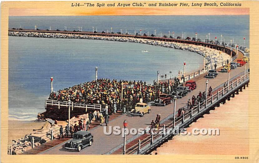 Spit & Argue Club, Rainbow Pier - Long Beach, California CA Postcard