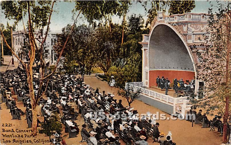 Band Concert, Westlake Park - Los Angeles, California CA Postcard
