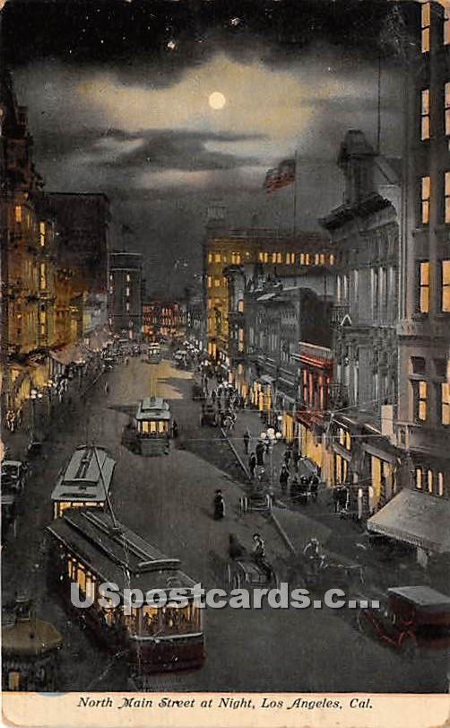 North Main Street - Los Angeles, California CA Postcard