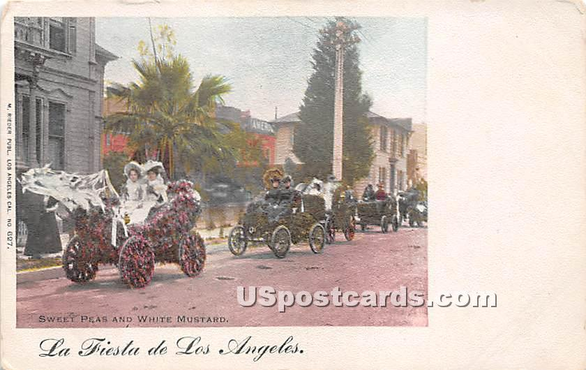 Sweet Peas & White Mustard, La Fiesta - Los Angeles, California CA Postcard
