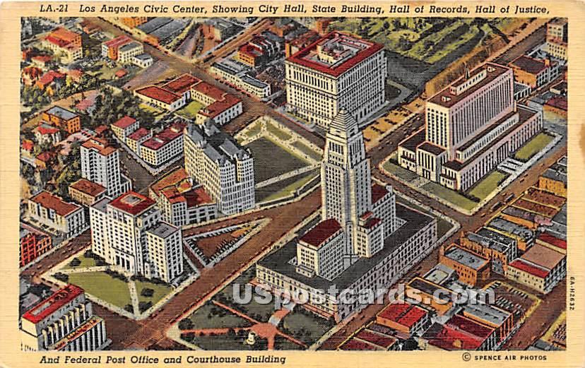 Los Angeles Civic Center, City Hall - California CA Postcard