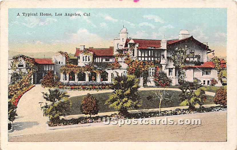 Typical Home - Los Angeles, California CA Postcard