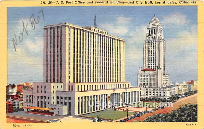 US Post Office & Federal Building, City Hall - Los Angeles, California CA Postcard