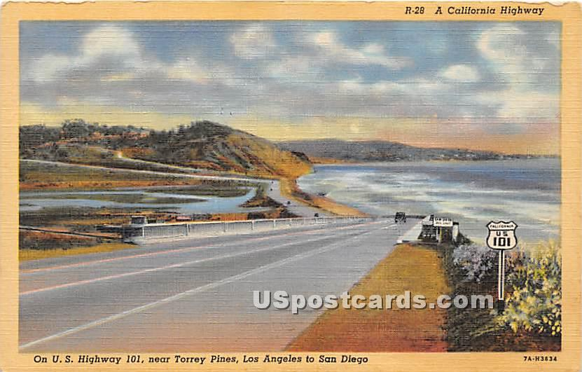 California Highway, Torrey Pines - Los Angeles Postcard
