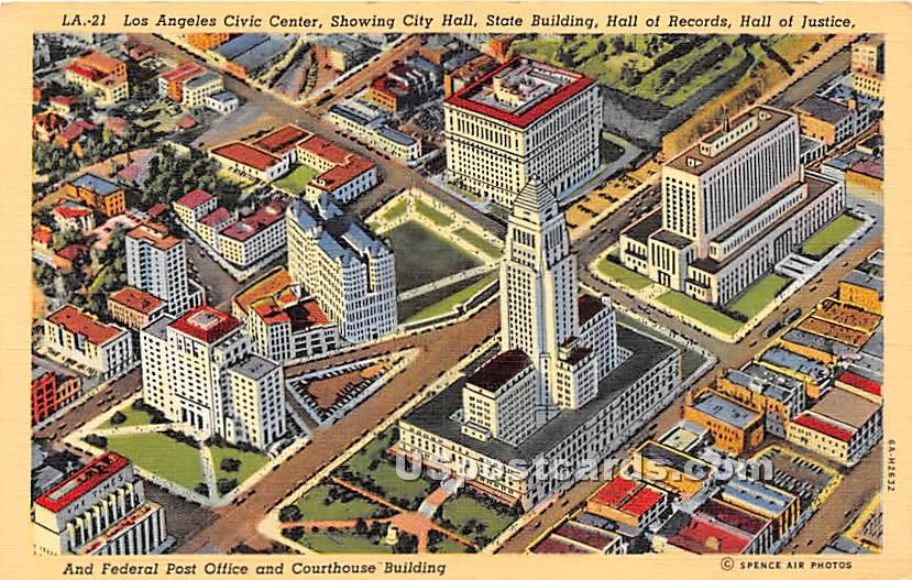 Los Angeles Civic Center - California CA Postcard
