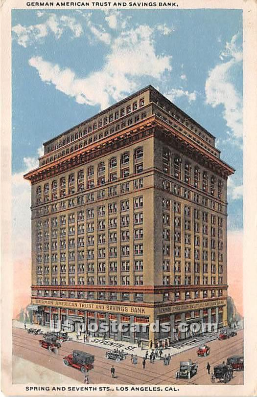 German American Trust & Savings Bank - Los Angeles, California CA Postcard