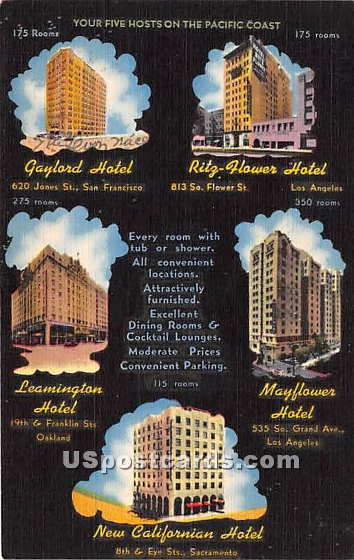 Ritz Flower Hotel - Los Angeles, California CA Postcard