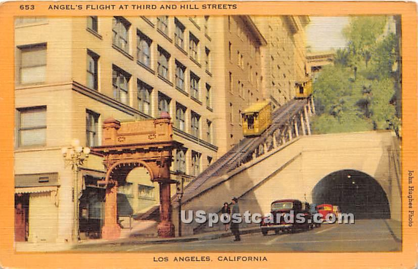 Angel's Flight, Hill Street - Los Angeles, California CA Postcard