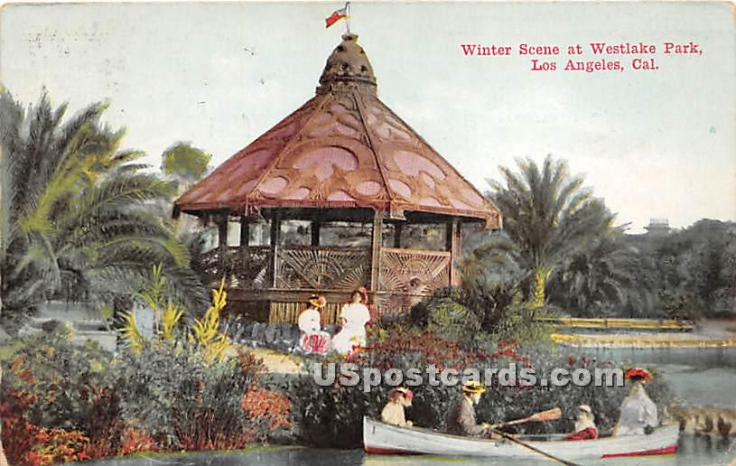 Winter, Westlake Park - Los Angeles, California CA Postcard