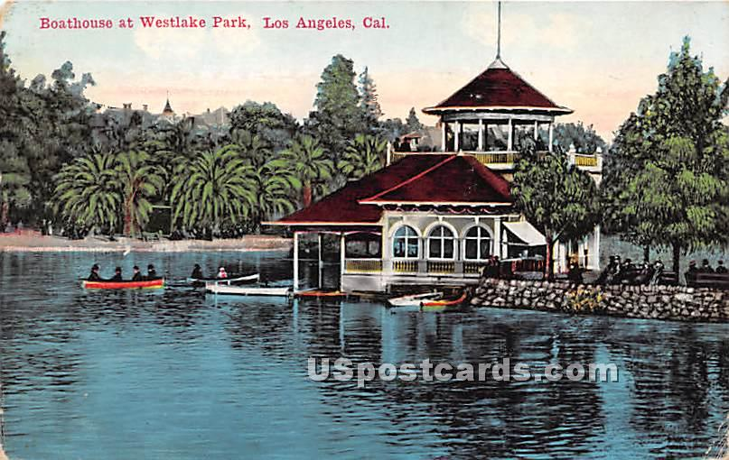 Boathouse, Westlake Park - Los Angeles, California CA Postcard