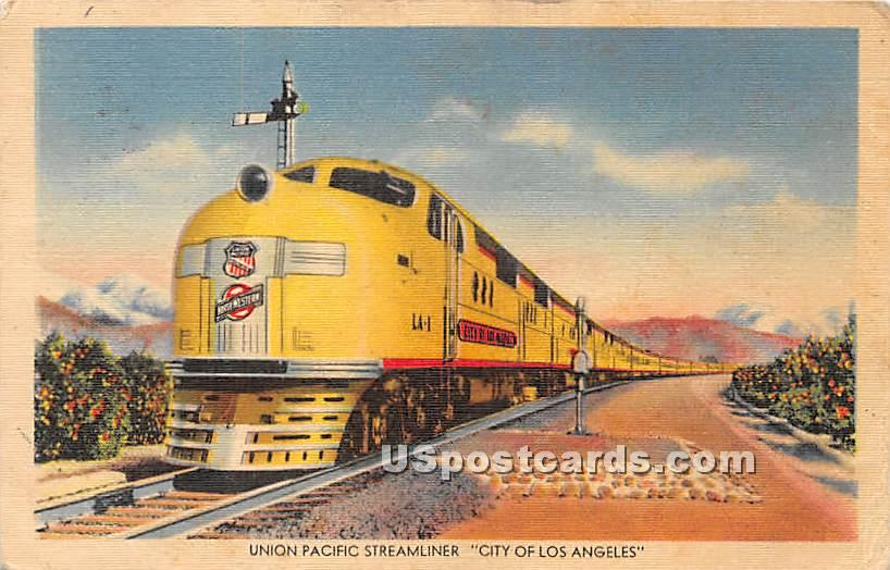 Union Pacific Streamliner - Los Angeles, California CA Postcard