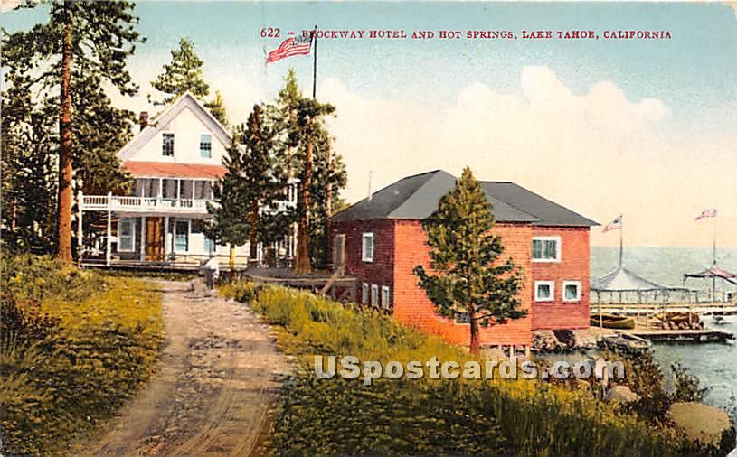 Brockway Hotel & Hot Springs - Lake Tahoe, California CA Postcard