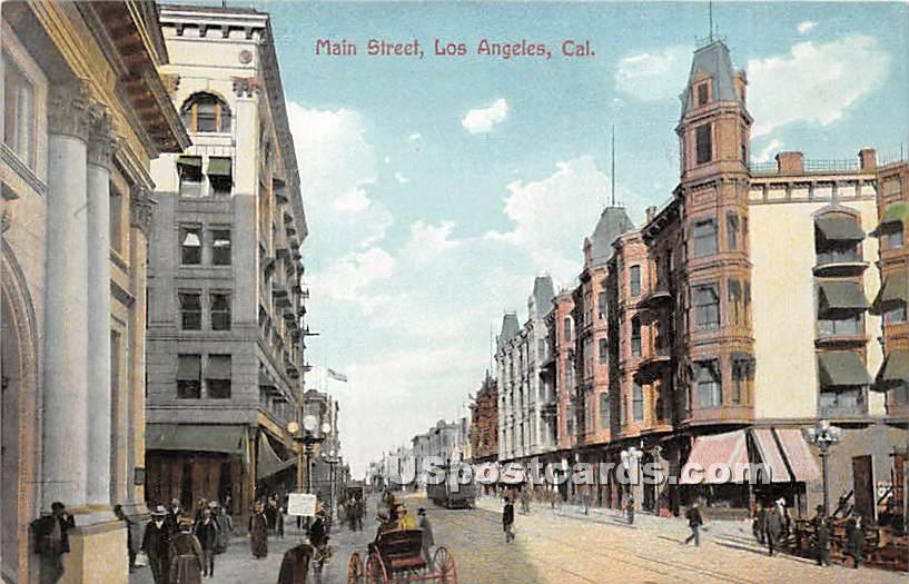 Main Street - Los Angeles, California CA Postcard