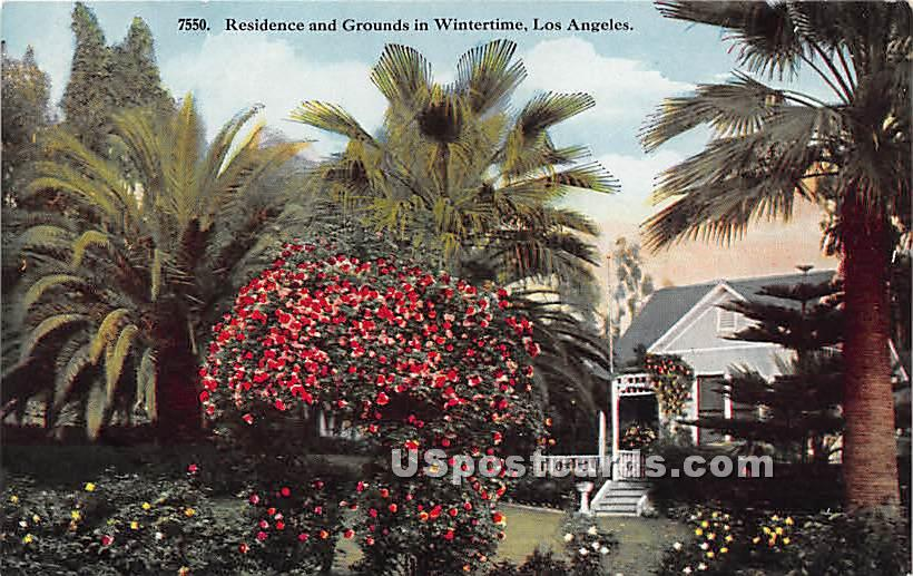 Residence & Grounds - Los Angeles, California CA Postcard