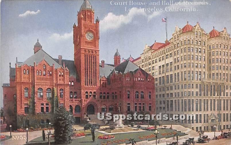 Court House & Hall of Records - Los Angeles, California CA Postcard