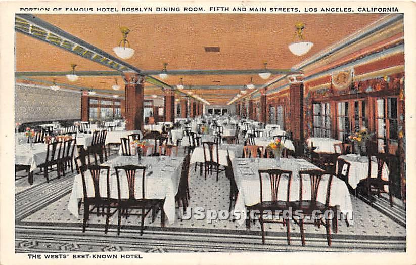 Hotel Rosslyn Dining Room - Los Angeles, California CA Postcard