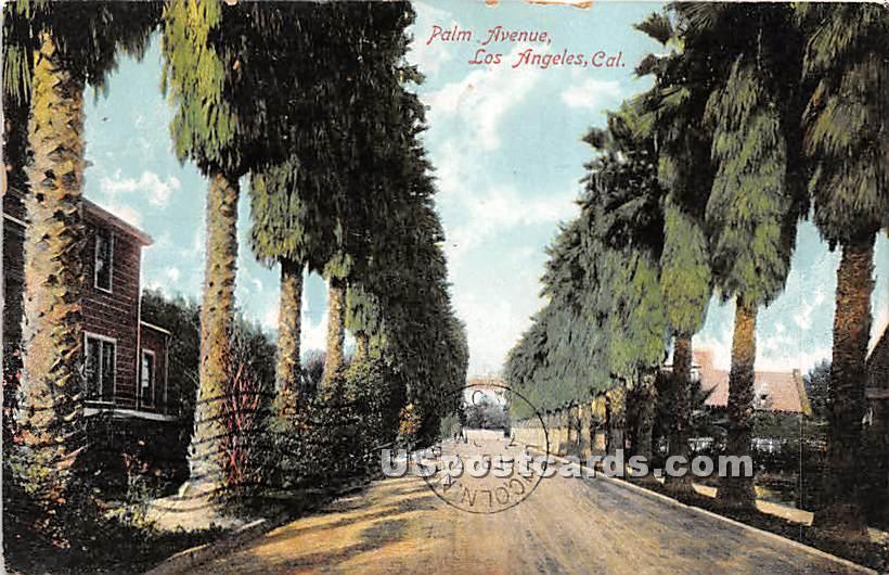 Palm Avenue - Los Angeles, California CA Postcard