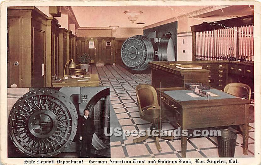 Safe Deposit Department, German American Trust & Savings Bank - Los Angeles, California CA Postcard