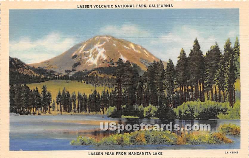 Lassen Peak, Manzanita Lake - Lassen Volcanic National Park, California CA Postcard