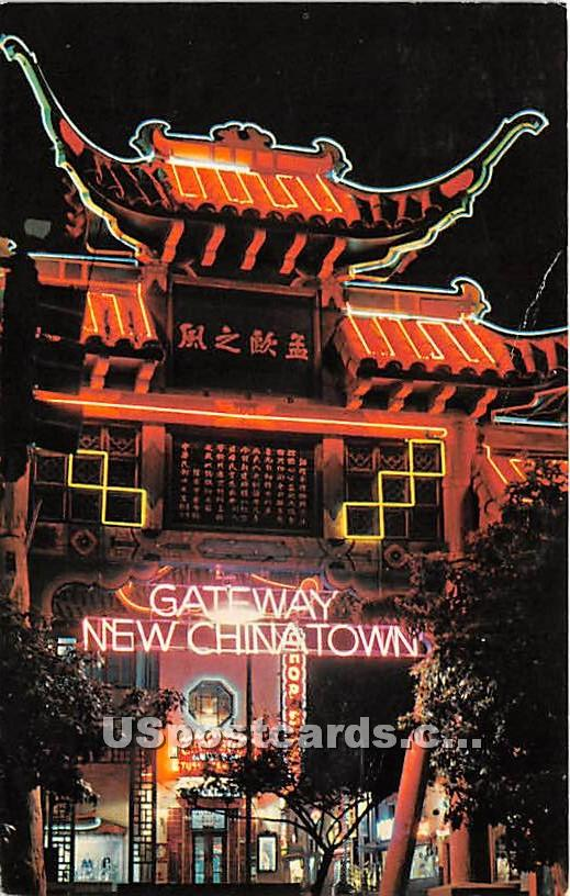 Chinatown at Night - Los Angeles, California CA Postcard