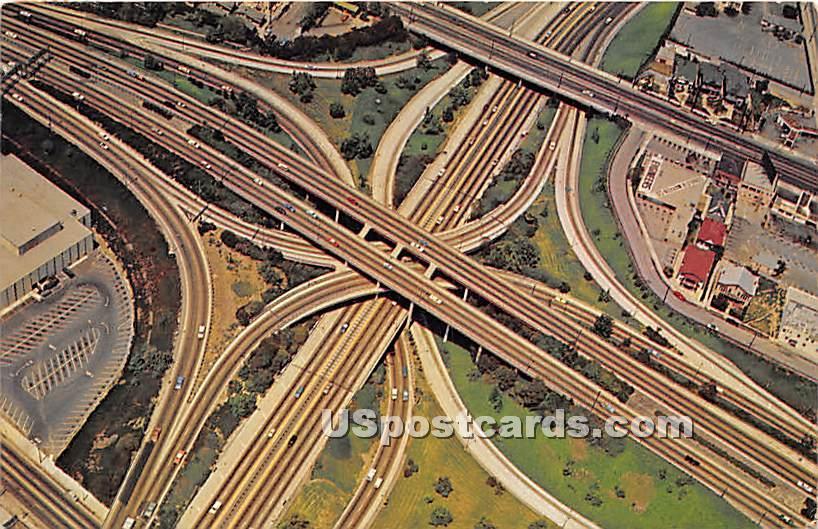 Freeway System - Los Angeles, California CA Postcard