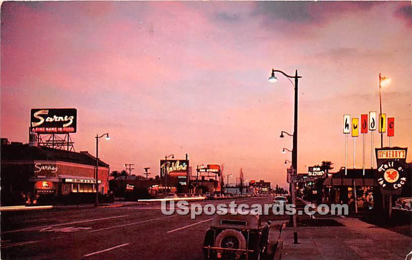 Restaurant Row, La Ciengega Boulevard - Los Angeles, California CA Postcard