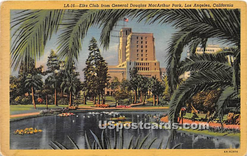 Elks Club, Gen Douglas MacArthur Park - Los Angeles, California CA Postcard