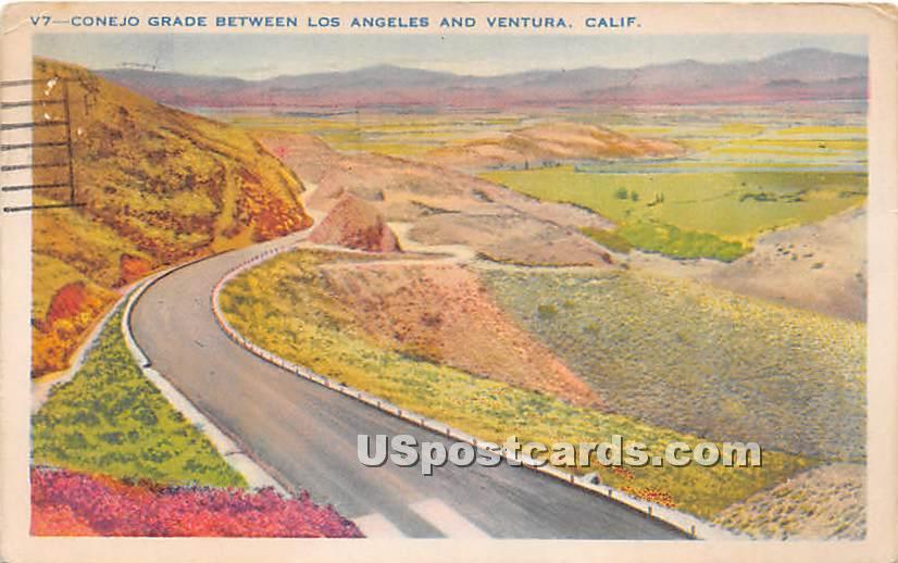 Conejo Grade, Ventura - Los Angeles, California CA Postcard