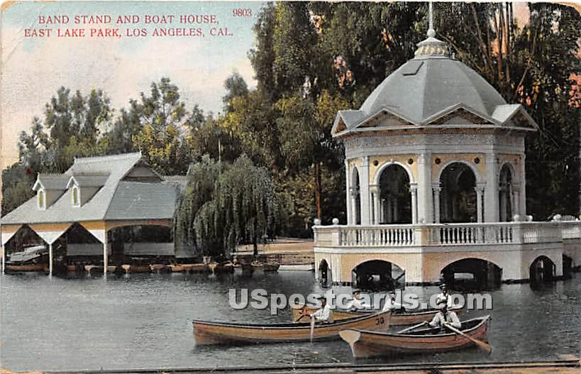 Band Stand & Boat House, East Lake Park - Los Angeles, California CA Postcard