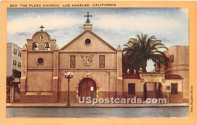 Plaza Church - Los Angeles, California CA Postcard