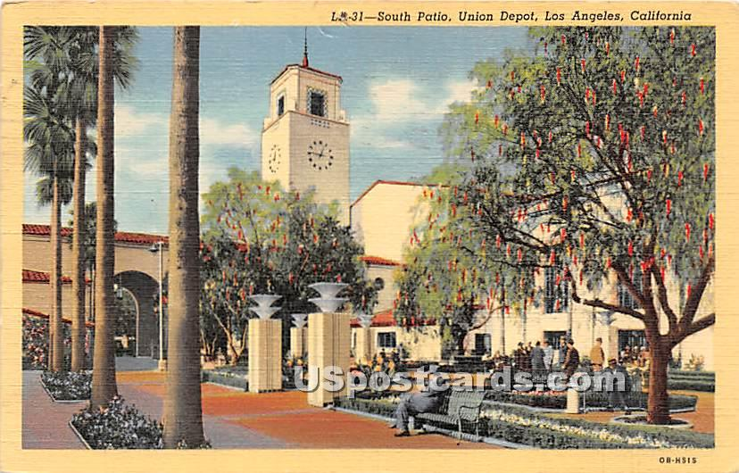 South Patio, Union Depot - Los Angeles, California CA Postcard