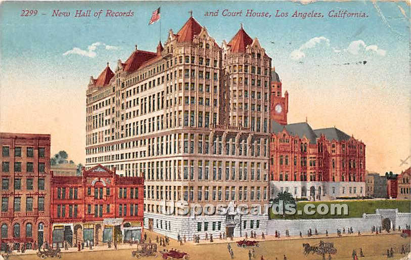 New Hall of Records & Court House - Los Angeles, California CA Postcard