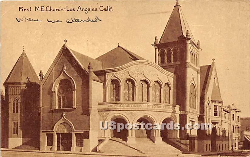 First ME Church - Los Angeles, California CA Postcard