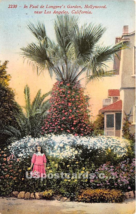 Paul de Longpre's Garden - Los Angeles, California CA Postcard