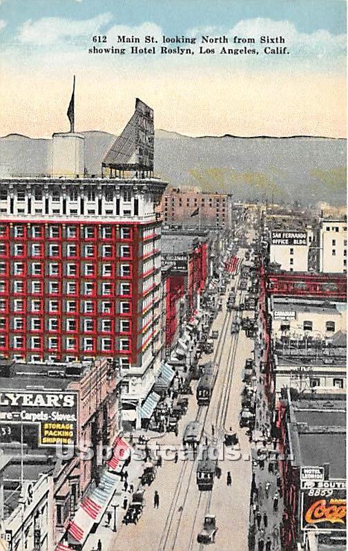 Main Street, Hotel Roslyn, Coka Cola Sign - Los Angeles, California CA Postcard