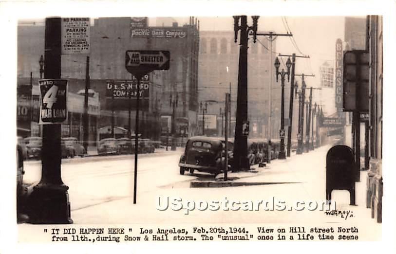 Hill Street, Snow & Hail Storm Feb 20, 1944 - Los Angeles, California CA Postcard