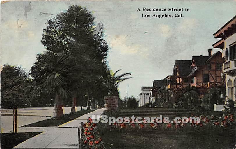 Residence Street - Los Angeles, California CA Postcard