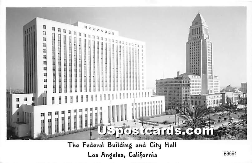 Federal Building & City Hall - Los Angeles, California CA Postcard