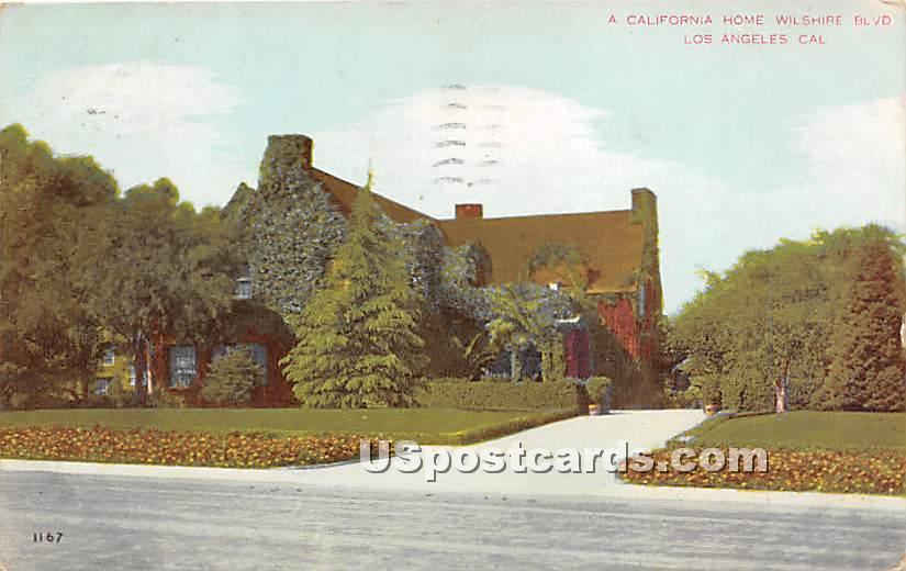 Home Wilshire Boulevard - Los Angeles, California CA Postcard