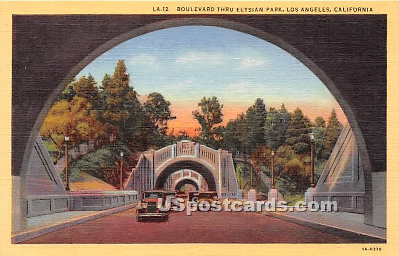 Boulevard Thru Elysian Park - Los Angeles, California CA Postcard